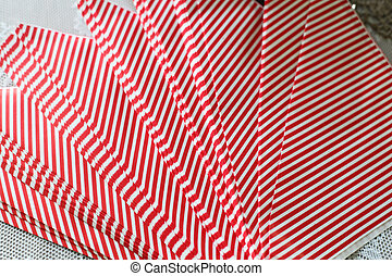 paper napkins in red stripes