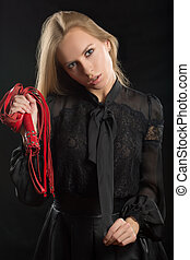 beautiful woman in biting red whip - beautiful woman with...