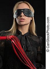 Retrato, de, jovem, bonito, mulher, em, Blindfold,