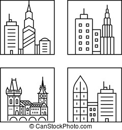 Cityscape icons Urban city and old town skyline and...