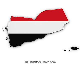 Yemen Map Flag 3d Shape
