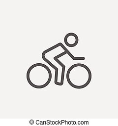 Sport bike and rider thin line icon - Sport bike and rider...