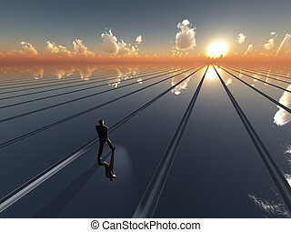 Future Sun Horizon - An abstract perspective background with...