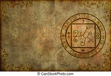 Ancient Magical Page Background with Mystical Symbols - An...