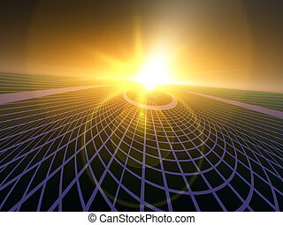 Data Matrix Grid - An abstract perspective horizon...