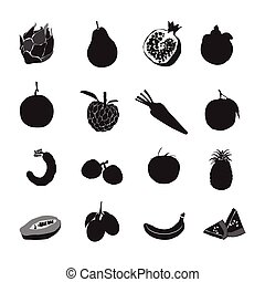 Set black silhouette various fruits