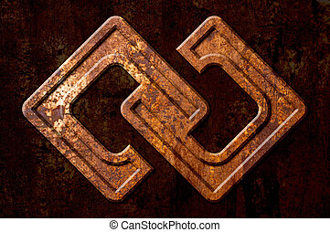 Infinity sign on the metal rust background
