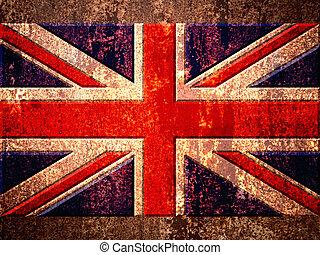 United Kingdom UK flag on the metal rust background