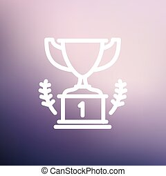 Trophy for first place winner thin line icon