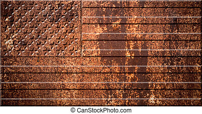 USA, united states of america flag on the metal rust background