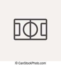 Basketball court thin line icon - Basketball court icon thin...