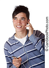 close-up of lovely young male listening mp3 music