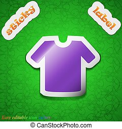 T-shirt, Clothes  icon sign. Symbol chic colored sticky label on green background. Vector
