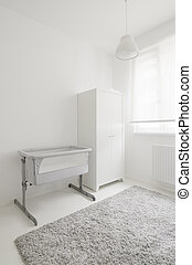 baby room - modern white baby room with crib and closet