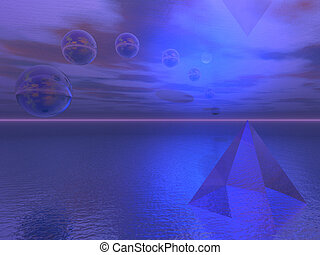 Spheres and Pyramid in Landscape