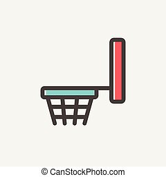 Basketball hoop thin line icon - Basketball hoop icon thin...