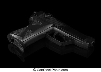 Gun isolated on black - Black police gun isolated on black...