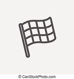 Chekered flag for racing thin line icon - Checkered flag for...