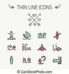 Sports thin line icon set for web and mobile Set includes...