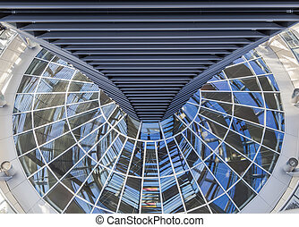 Dome of the Bundestag with a system of mirrors to illuminate...