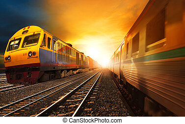 passenger trains and industry container railroads running on...
