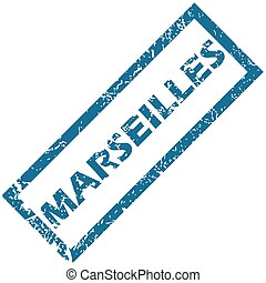 Marseilles rubber stamp - Blue rubber stamp with city name...