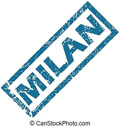 Milan rubber stamp - Blue rubber stamp with city name Milan,...