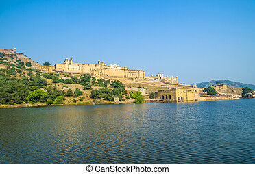 Amer Fort near Jaipur under blue sky with lake