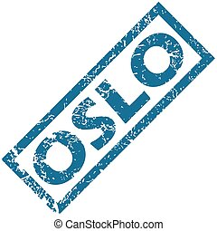 Oslo rubber stamp - Blue rubber stamp with city name Oslo,...