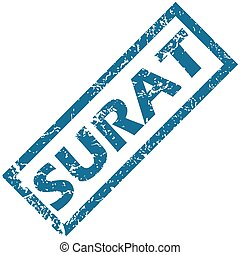 Surat rubber stamp - Blue rubber stamp with city name Surat,...