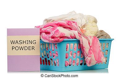 Washing powder and dirty clothes - Pink washing powder and...