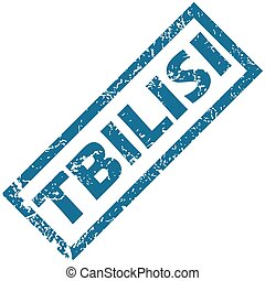 Tbilisi rubber stamp - Blue rubber stamp with city name...
