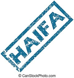 Haifa rubber stamp - Blue rubber stamp with city name Haifa,...