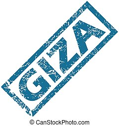 Giza rubber stamp - Blue rubber stamp with city name Giza,...