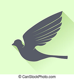 Grey Bird Silhouette Isolated on Green Background