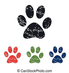 Paw grunge icon set - Colored grunge icon set with image of...
