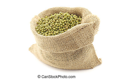 Mungo beans Vigna radiata in a burlap bag on a white...