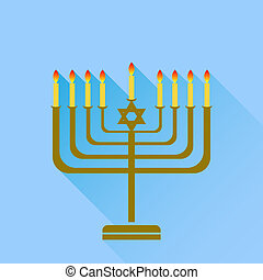 Menorah - Jewish Holiday Hanukkah. Menorah Burning Candles...