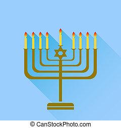 Menorah - Jewish Holiday Hanukkah. Menorah Burning Candles...