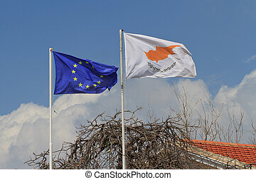 flag of Cyprus and the European Union on a flagpole - Waving...
