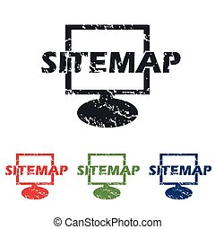 Sitemap grunge icon set - Colored grunge icon set with text...