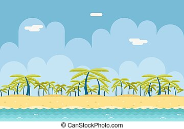 Seamless Sunny Beach Ocean Sea Nature Concept Flat Design...
