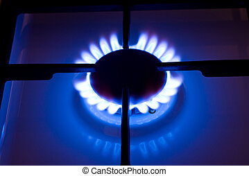 Kitchen gas cooker - Stove gas fire flame. Kitchen gas...