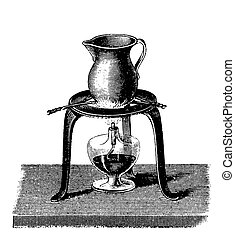 Vintage engraving, chemistry equipment, heating with alcohol...
