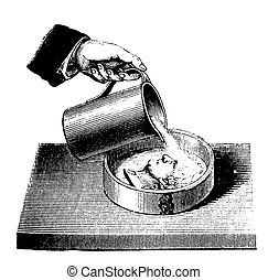 Vintage engraving chemistry, how to cast the mold of a coin...