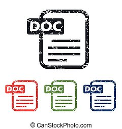Doc file grunge icon set - Colored grunge icon set with...