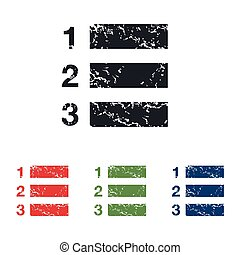 Numbered list grunge icon set - Colored grunge icon set with...
