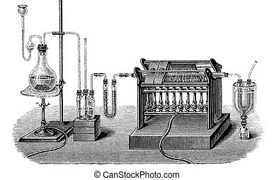 Vintage engraving, lab production of silicon tetrachloride...