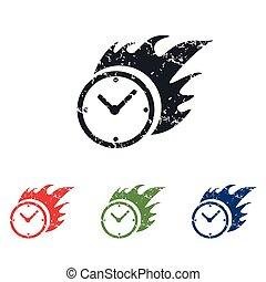 Burning clock grunge icon set - Colored grunge icon set with...