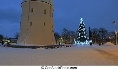 Christmas tree on Cathedral Square in Vilnius, Lithuania